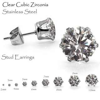 Earrings, Brilliant Round Cut CZ Stainless Steel   Sizes 2mm   10mm