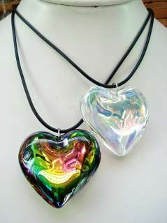 12strands 45*40MM Heart Glass Crystal Pendant Necklaces