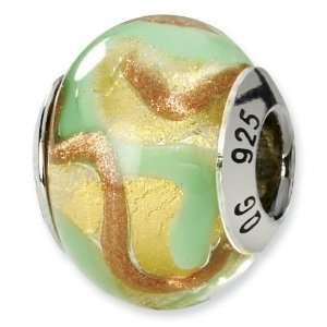 Sterling Silver Yellow/Gold/Green Italian Murano Bead