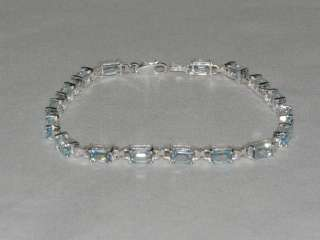 17.00 ctw Genuine Blue Topaz Sterling Silver Bracelet