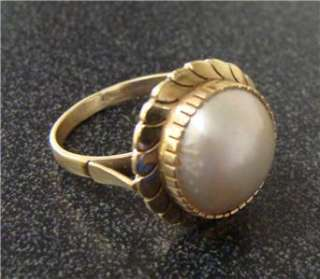 Antique 10k Yellow Gold Ladies Mabe Pearl Ring
