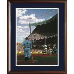 Babe Ruth and Lou Gehrig Color Framed Litho   Autographed MLB Bats