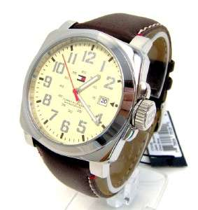 TOMMY HILFIGER Mens Brown Leather Watch 1710160 NWT