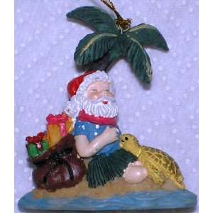 Hawaiian 3D Christmas Ornament Santa With Turtle