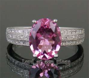 Tourmaline Pave .2ct VS Diamond 14K White Gold Engagement Ring Size7