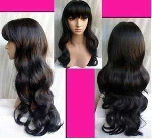 C401 Cosplay long black curly hair neat bang wig/wigs
