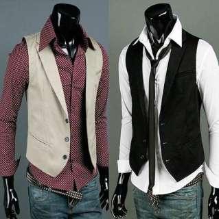 Mens Premium Slim Fit Style Slim Vest Waist Coat 2 Colors