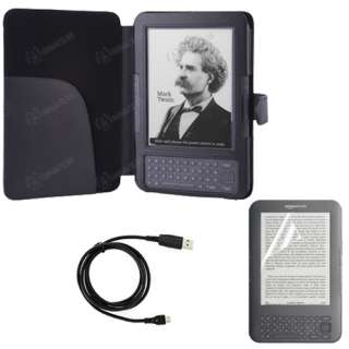 for  Kindle 3 Keyboard   Folio Carry Case Cover+USB Cable+Screen
