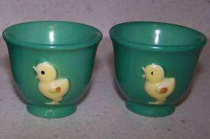 GREEN GOEBEL WEST GERMANY EGG CUP   RAISED CHICKS