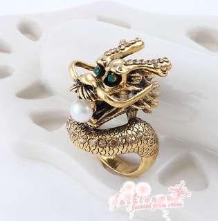 Old Gold Plated Style Rhinestone Stylish Beautiful China Dragon Ring