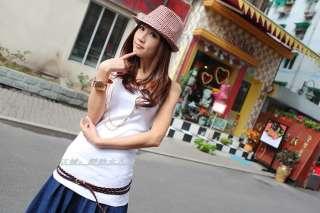 Japan Korea Double Wrap Knit Skinny Leather Belt BROWN