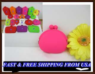 HOT PINK SILICONE PURSE COIN BAG CASE WALLETS GREAT GIFT IDEA