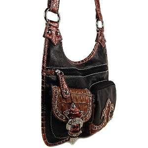 Western Style Messenger Cross Body Rhinestones Handbag Purse Black
