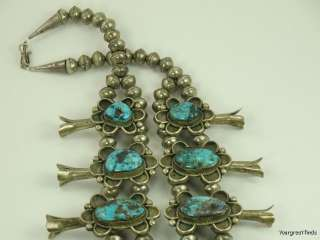 SOUTHWEST TRIBAL STERLING SILVER RARE CARLIN TURQUOISE SQUASH BLOSSOM