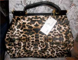BIG BUDDHA RONNIE ANIMAL PRINT LEOPARD SATCHEL TOTE PURSE BAG NWT