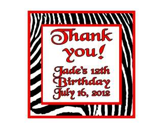 Zebra Red Orange Yellow Personalized Birthday Party Thank You Magnet