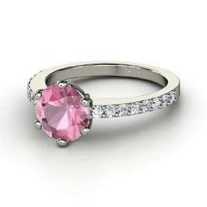 Majesty Ring, Round Pink Tourmaline 14K White Gold Ring