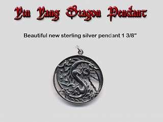 Sterling Silver YING & YANG DRAGON Pendant