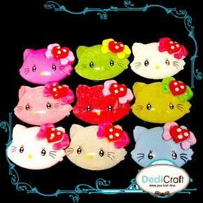 40MM Resin Hello Kitty Big Heart Bow Flatback Scrapbooking Lot