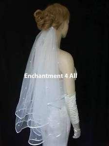 2T White Wedding Bridal Elbow Veil Swarovski Crystal 22