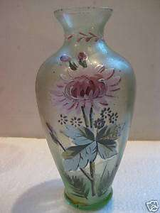 Victorian green glass vase enamel hand painted old