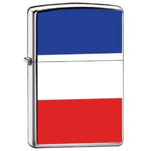 Zippo Custom Lighter France Flag High Polish Chrome Finish