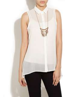 Winter White (Cream) White Lilly Sleeveless Blouse  249972412  New