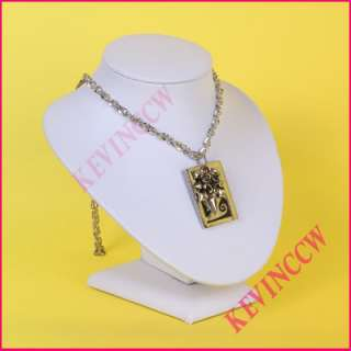 D24 Small White Leatherette Bust Necklace Display Stand