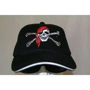 Jolly Roger Red Cap Black Baseball Cap