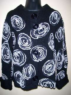 NWT Design Options Adieu black swirls sweater S,M,L,XL