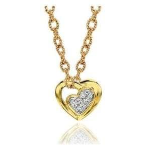 14k Yellow Gold Pave Diamond Heart Necklace Jewelry