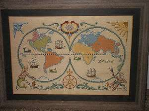 Vintage Framed Needlepoint Olde World Map Wall Hanging 20 x 14.5