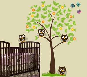 FT BIG Tree with 4 OWLS, Butterflies and Grass Wall Decal Sticker