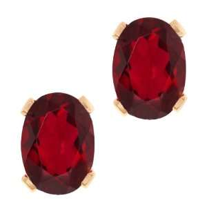Oval Shape Ruby Red Mystic Topaz Rose Gold Plated Brass Stud Earrings