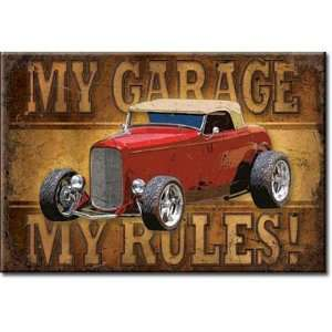 2x3) My Garage My Rules Hotrod Distressed Retro Vintage Refrigerator