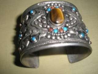 Antique Tibetan Silver Gemstone Bangle Christmas Gift