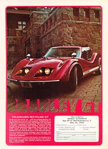 1975 Bradley GT   VW red Kit Car   Classic Vintage Advertisement Ad