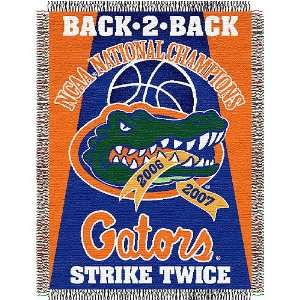 Gators Woven Tapestry NCAA Throw (Back to Back National Championships