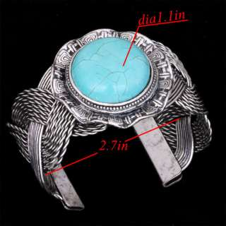 silver round carved patterns blue howlite turquoise bead cuff bracelet
