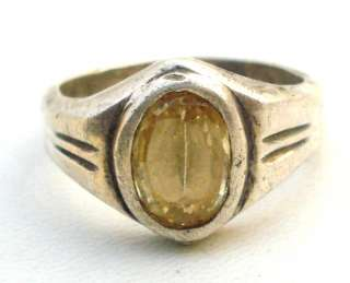 ANTIQUE TRIBAL OLD SILVER CITRINE TOPAZ GEM STONE RING