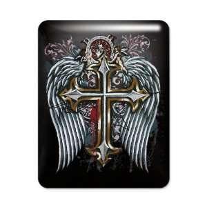 iPad Case Black Cross Angel Wings