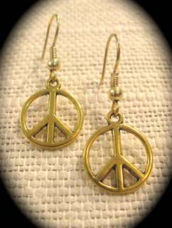 買 Olde Castle Arts •• Small Gold tone Peace Sign Earrings