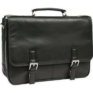 Kenneth Cole 5 Black Leather Laptop Case Travel Bag