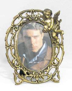 Set of 2 Oval Picture Frames 3.5x5 Bronze Angel Cherubs