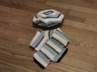 toddler girl BERET & SCARF SET hat size 3   4 yrs @ BROWN WHITE BLUE
