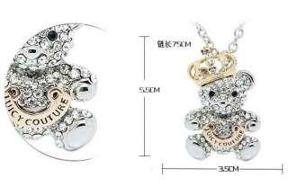 2012 new fashion golden crown Austria crystals teddy bear pendant