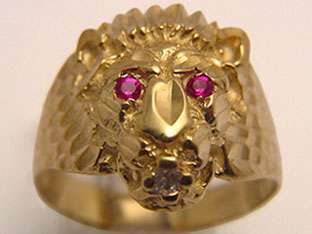 10k GOLD RUBY RED EYES & CUBIC ZIRCONIA LION HEAD RING