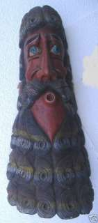 HAND CARVED WOODEN CEREMONIAL MASK BEARDED MAN