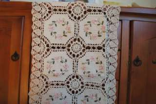 Crochet Lace Silk Embroidery Cotton Table Runner Octo