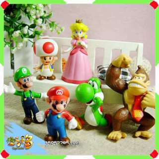 6pcs Super Mario Bros 1.5~2.5 Action Figures Doll Toy